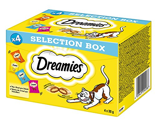 Dreamies Snack Selection Box (Huhn, Käse, Lachs, Rind), 120 g