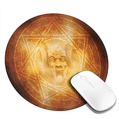 Alfombrilla de ratón con borde cosido, símbolo de trampa de demonio, logotipo, ceremonia, espeluznante, aterrador, ritual, fantasía, diseño paranormal, regalo para niños, alfombrilla de ratón, alfombr