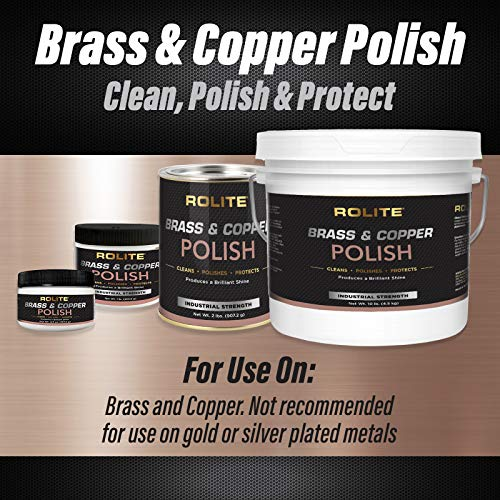 Rolite - RBCP1# Brass and Copper Polish - Instant Polishing and Tarnish Removal Cream, Metal Cleaner and Brightener for Antiques, Cookware, Jewelry, and More, 1 Pound, Pack of 1