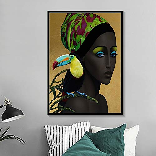N / A Charming black girl women and birds canvas painting fashion character wall art picture decoration poster and living room frameless decorative painting A45 70x100cm