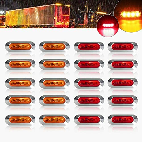 ALFU 20PCS 10Amber+10Red DC12V-24V Las Vegas Mall LED Indicator Side Special price for a limited time Marker Lig