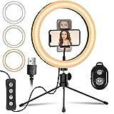 Mansso Luz de Anillo LED 10' fotográfica de Escritorio, 3 Colores 10 Brillos Regulables Control Remoto Bluetooth, para Móvil Selfie Maquillaje Youtube TIK Tok Live