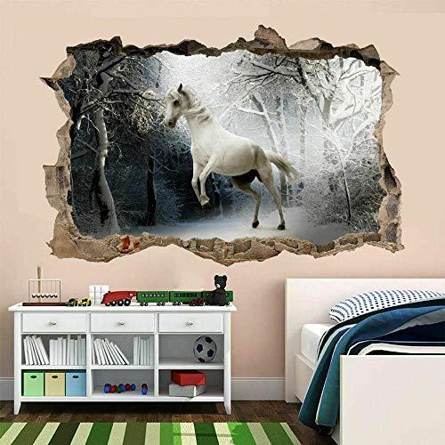 Pegatinas de pared Caballo blanco pared arte pegatina mural papel tapiz niños dormitorio hogar oficina decoración cartel papel tapiz- 80×120cm