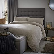Silentnight Winter Waffle Fleecy Duvet Cover and Pillowcase Pair Bedding Set, Champagne, Double
