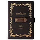Lirener Vintage PU Leather Diary with Combination Lock(Floral Pattern), A5 Secret Password Notebook Journal Digital Locking Diary Notepad Handbook Sketchbook Daily Planner Agenda, 145x210mm