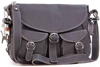 Catwalk Collection Handbags - Cuir Véritable - Sac à Main/Sac Bandoulière/Sac Besace avec Rabat/Sac Porté Croisé - Femme - COURIER - Marron