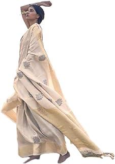بلوزة ساري ساري رسمي للنساء هندي سارونغ الحرير وشاح روز موتيف زاري نسج Handloom ساري للمناسبات