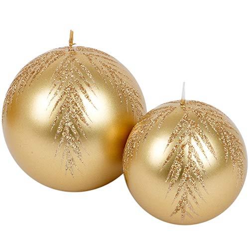 holzalbum goldene Kugelkerzen aus Gold Weihnachtskerzen 2 Stück Kugel Wachs Adventskerzen