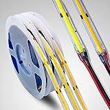 Tira de LED COB de 24V, 5m tira LED 528 LEDs/M, blanco cálido 3000 K cinta lineal de alta densidad FOB flexible LED tira de luces...