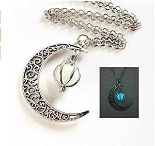 Glowing Crescent Moon Necklace,glowing Orb Necklace,glow in the Dark Necklace,twilight Necklace,halloween Jewelry,halloween Gift
