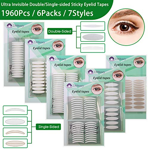 6 Packs Natural Invisible Single/Double Side Eyelid Tapes Stickers,...