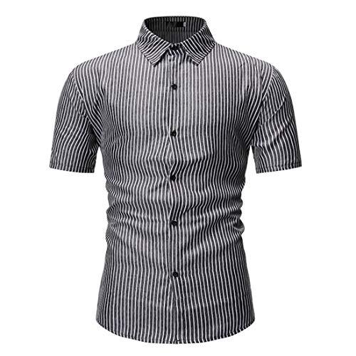Tradicional Camisa Hombre Verano Moderno Botón Placket Hombre Shirt Moda Rayas/Cuadros Manga Corta Henley Camisa Urbana Ajustado Negocios Casual Hombre Camisa D-Black2 XL