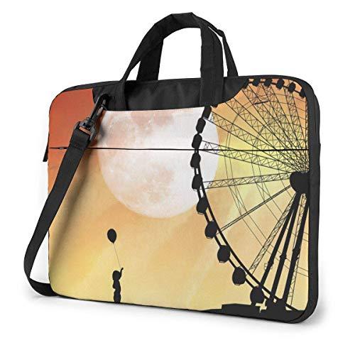 AOOEDM Laptop Case Computer Bag Sleeve Cover Ferris Wheel Waterproof Shoulder Briefcase 13 14 15.6 Inch