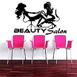 Ajcwhml Calcomanías de Pared de pedicura Serie de salón Bonito Pegatina de Pared barbería Dos uñas de Mujer murales de Pared de manicura decoración de salón de Belleza 42x66cm