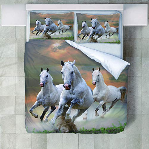 JNBGYAPS 3D Effect Printed duvet cover Three white horses Bedding set with Pillocases (with Zipper Closure) Soft Microfiber Quilt Cover Single200X200cm