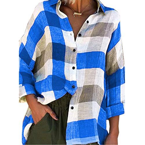 LiDaiJin Langarm Kariertes Damenhemd mit langem Karomuster