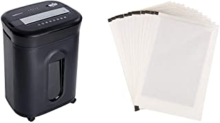 AmazonBasics 15-Sheet Cross-Cut Paper/ CD/ Credit Card Shredder & SP12A Shredder Sharpening & Lubricant Sheets - Pack of 12
