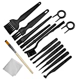 Plastic Handle Anti Static Brushes,Sonku Portable Nylon Cleaning Brushes and Tweezers Keyboard Puller Wooden Brush Wiping Cloth Computer Keyboard Cleaning Brush Kit(Set of 16)