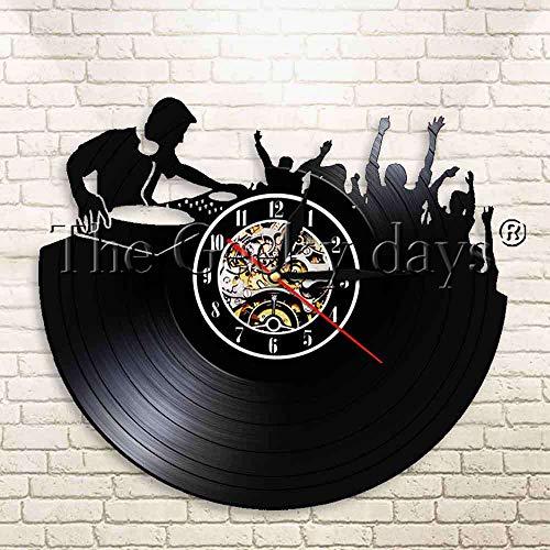 3d sieg nachtlicht dj plattenspieler plattenspieler vinyl wanduhr nachtclub musik party dance performance vintage led silhouette dekoration licht uhr geschenk orange tisch lampenschirm