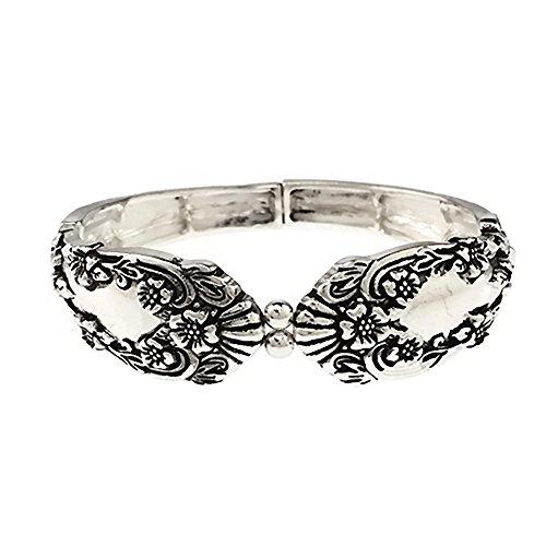 Emulily Spoon Look Design Texture Stretch Bracelet (Antique Silver)