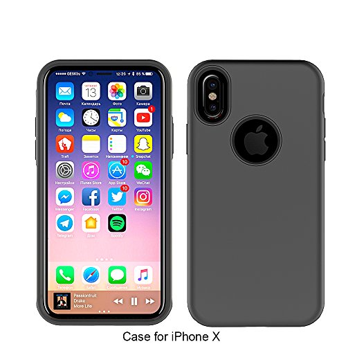 Heavy Duty Black iPhone X Case - Shockproof Dual Layer Silicone Rubber and Plastic Cover for Durable Protection - VuduTechno