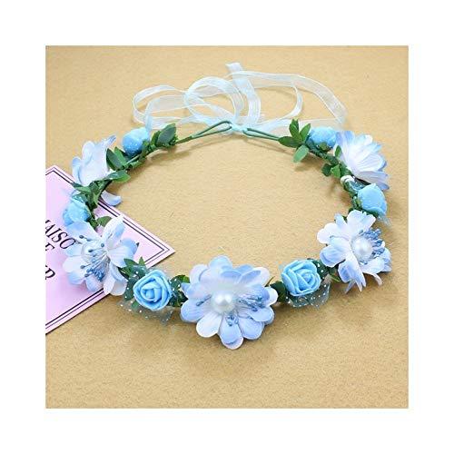 Ppzmd Headwears Corona di Fiori/Ghirlanda con Nastro di Pizzo Regolabile per Feste di Nozze Regalo Fascia Floreale Fresco Headwear (Color : Blue)