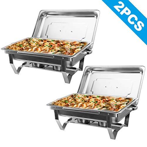 Z ZELUS Chafing Dish 2 X Edelstahl Warmhaltebehälter 9L Speisewärmer Wärmebehälter Edelstahl Buffet-Set für Catering Buffet und Party (2 STÜCKE)