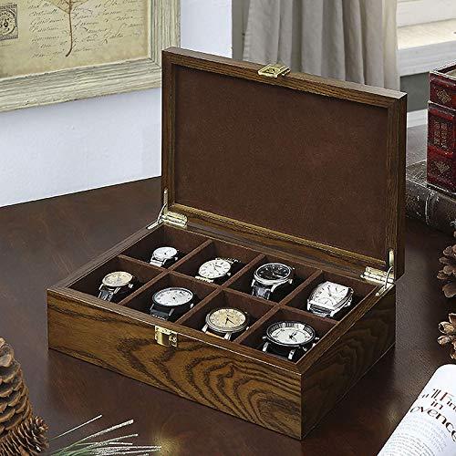KDMB Caja de Reloj Vintage 8 Ranuras Caja de Reloj con Cerradura Reloj Grande de Madera Dislpay Organizador de Almacenamiento para Hombres y Mujeres