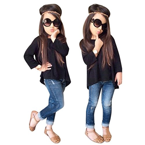 LMMVP Manches Longues T-Shirt Jeans Manches Longues t-Shirt Tops + Jeans Pantalons 1 Set pour Tout-Petits Bébé Filles (110(4-5))