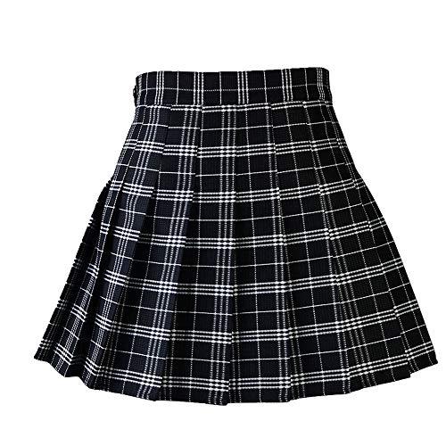 Falda plisada de verano para mujer Negro M