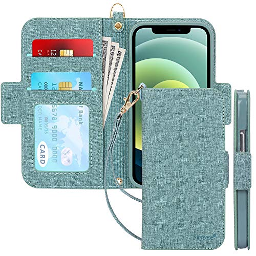 Skycase Compatible for iPhone 12 Mini Case 5G,[RFID Blocking] Handmade Flip Folio Wallet Case with Card Slots and Detachable Hand Strap for iPhone 12 Mini 5.4 inch 2020,Green