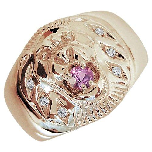 [プレジュール]ピンクサファイア ライオン メンズ リング K10ピンクゴールド 指輪 リングサイズ22号