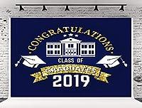 写真撮影用背景幕 7x5フィート (220W x150H cm) 2019年卒業の祝福クラス ネイビーブルー パーティー プロム 背景用