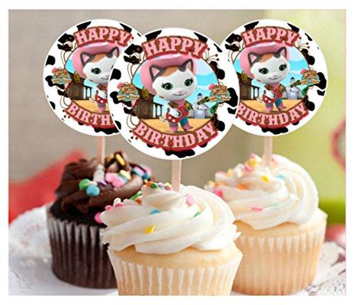 12 Happy Birthday SHERIFF CALLIE Inspired Party Picks, Cupcake Picks, CupcakeToppers