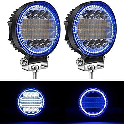 """Yorkim 4.5"""" Led Pods, 2-Pack Off Road Led Light Bar Spot Flood Combo Round Blue Angel Eye-Shape Work Light Fog Lights Driving Lights for Truck Jeep SUV ATV UTV Pickup, Pack of 2"""