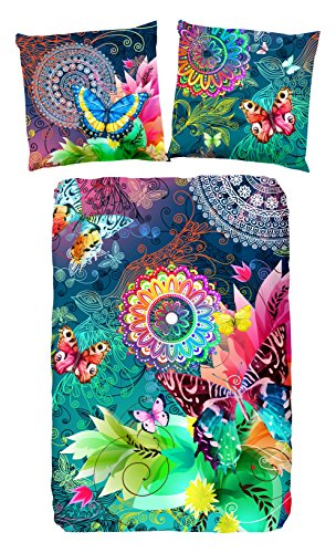 HIP Parada bettwäsche, grau mit farbigen Figuren und Schmetterlinge, 100% Baumwolle/Satin-135x200cm, Satin, Multi Colour, 200x135x0.5 cm