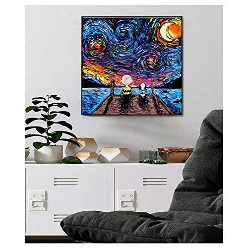 HHLSS Druck auf Leinwand 50x50cm ohne Rahmen Starry Night Series Snoopy und Charlie Poster Leinwanddruck Wandkunst Gemälde Dekor Bilder Wanddekoration
