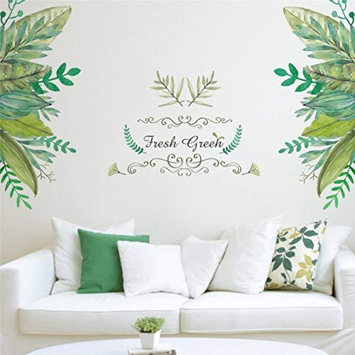 MMLFY Muursticker Groen Bladeren TV Achtergrond Muurstickers Diy Verwijderbare Idyllische Stijl Deur Sticker Bank Woonkamer Decoreren Art Poster Home Decor
