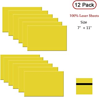 "XLNT 100% Laser Engraving Double Color Sheet, Yellow/Black(7"" x 11"" x .060"", 12 Pieces) for Interior Signs, Badge."