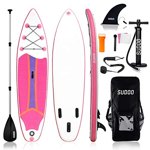 """SUDOO 10FT 3M Inflatable Stand Up Paddle Board SUP Board 6"""" Thick Surfboard LightweightNon-Slip EVA Deck SUP Package Complete Kit for All Skill Beginners Adults Fishing Yoga Surfing (300x76x15cm)"""
