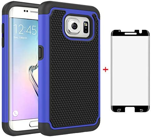 Phone Case for Samsung Galaxy S7 Edge with Tempered Glass Screen Protector Cover and Slim Rugged product image