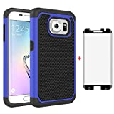 Phone Case for Samsung Galaxy S7 Edge with Tempered Glass Screen Protector Cover and Slim Rugged TPU Hybrid Cell Accessories Glaxay S7edge Gaxaly S 7 Plus Galaxies GS7 7s 7edge Women Boys Black Blue