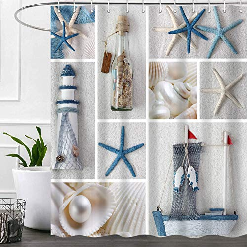 Nautical Beach Shower Curtains for Bathroom, Ocean Anchor Fabric Shower Curtain Set, Beachy Seashell Starfish Sailboat Bathroom Accessories Decor, Hooks Included (72W X 72H)