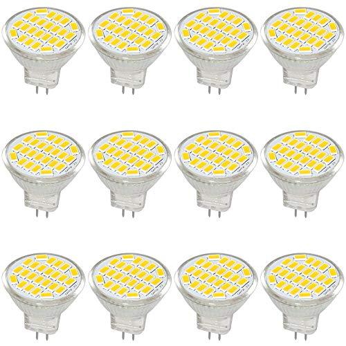 Jenyolon MR11 GU4 LED Lampen neutralweiß 3W AC/DC 12V, 4000K, 400Lm, Ersatz für 30W Halogenlampen Glühlampen, MR11 LED Leuchtmittel klein Birne Spot Licht, 120°Abstrahlwinkel, 12er Pack