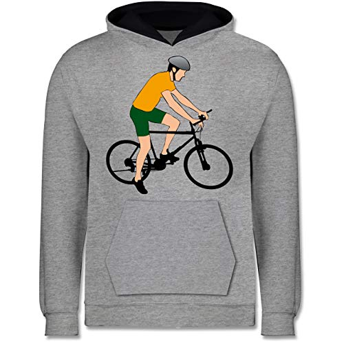 Sport Kind - Fahrradfahrer Citybike Radfahrer - 140 (9/11 Jahre) - Grau meliert/Navy Blau - Mann - JH003K - Kinder Kontrast Hoodie