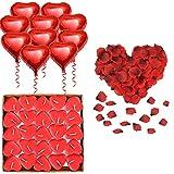 KIPIDA - Decoración romántica para San Valentín, 50 velas en forma de corazón, 1000 pétalos de rosa rojas de seda, 10 amores, diseño de hojas, velas y cumpleaños de boda