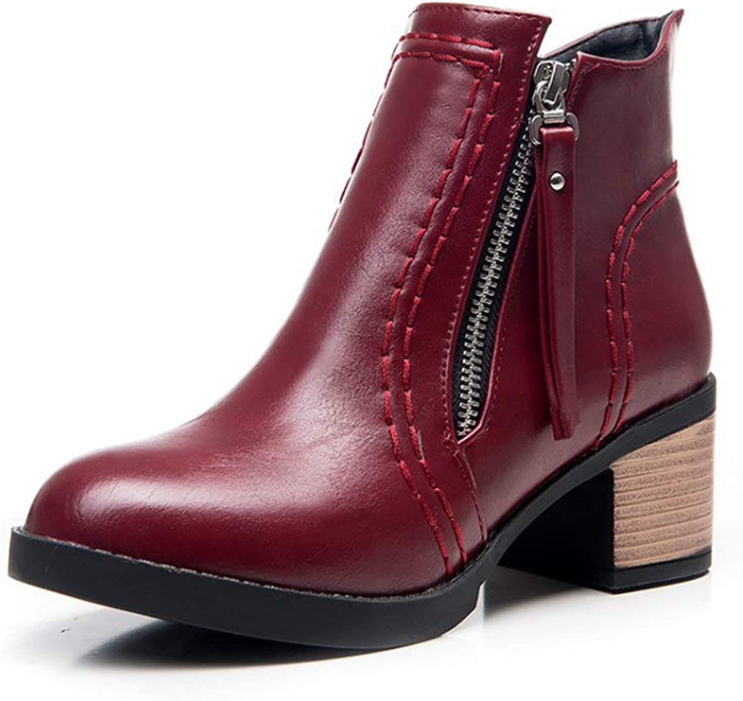 Women's Retro Ankle Boots,Round Toe Block Chunky Heel Martin Booties,Double Zipper Knight Boots