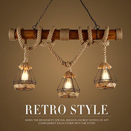GRFH Rústico de cáñamo cuerda colgante luces de madera Downlights luces de...