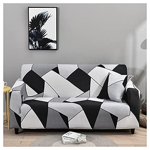 Hggzeg Funda de sofá de tela elástica de alta elasticidad, para sofá de 1 2 y 3 plazas, funda de sofá impresa, funda protectora antideslizante, lavable a máquina (2 plazas, negro, blanco y gris)