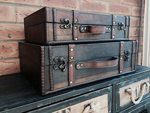 Valigia di legno aspetto antico bagagli Tronco Nozze Holder Post Box 2 formati